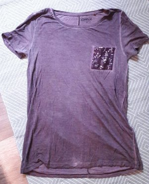 Only Shirt T-Shirt Lila Washed out Pailletten Sequin M