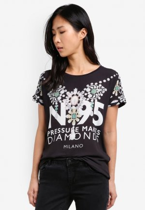 Only short sleeve Tshirt Blumendesign und Perlen