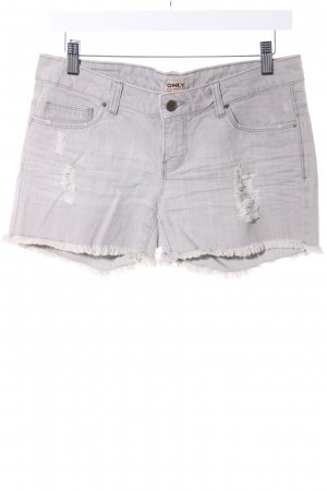 Only Shorts hellgrau Jeans-Optik