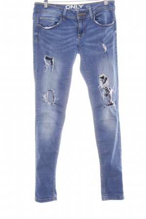 Only Skinny Jeans stahlblau Used-Optik