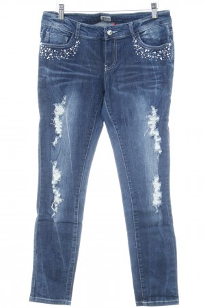 Only Slim Jeans dunkelblau Destroy-Optik