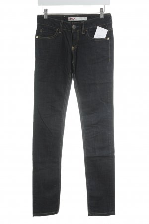Only Slim Jeans dunkelblau-goldfarben Street-Fashion-Look