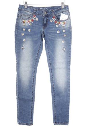 Only Slim Jeans kornblumenblau Blumenmuster Casual-Look