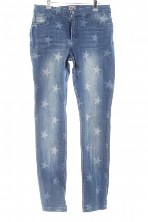 Only Stretch Jeans blau-weiß grafisches Muster Casual-Look