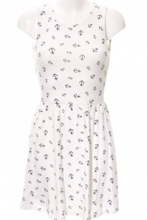 Only Stretch Dress white-dark blue themed print casual look