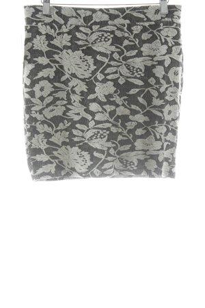 Only Stretchrock schwarz-weiß florales Muster Elegant