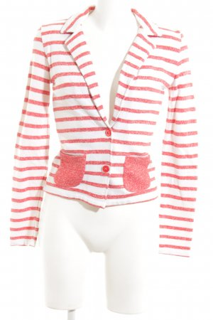 Only Knitted Blazer white-red striped pattern business style