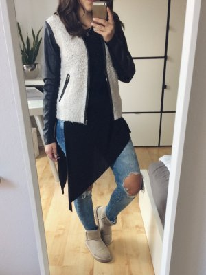 ONLY Strickjacke Jacke Blazer beige Leder Ärmel Wolle schwarz Gr. S