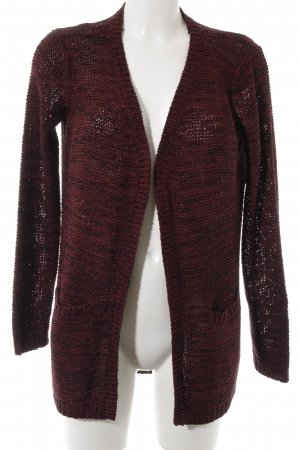 Only Strickjacke schwarz-bordeauxrot meliert Casual-Look