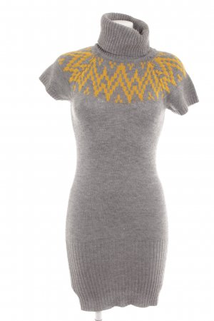 Only Strickkleid hellgrau-goldorange abstraktes Muster Casual-Look