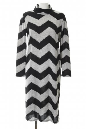 Only Knitted Dress black-light grey zigzag pattern party style