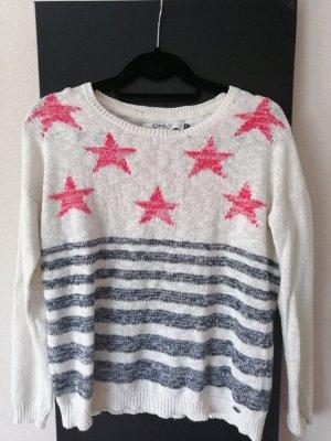 Only Camisa tejida blanco-rojo oscuro