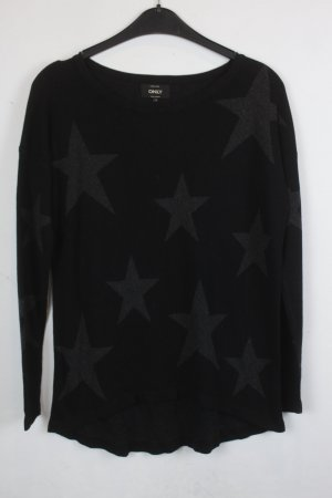 ONLY Strickpullover Gr. S schwarz grau Sterne (18/9/048)