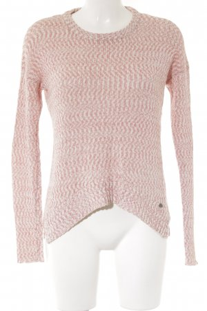 Only Strickpullover rosa-weiß Webmuster Casual-Look
