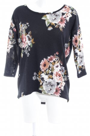 Only Strickpullover schwarz Blumenmuster Casual-Look