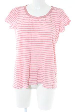Only T-shirts en mailles tricotées vieux rose-rose motif rayé