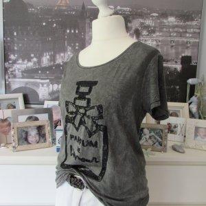 Only * %Summer SALE% Cooles Sommer Shirt * dunkelgrau oilwashed Pailletten * XL=42/44 NEU