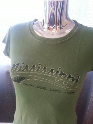 ONLY T-Shirt Mississippi grün XS / S