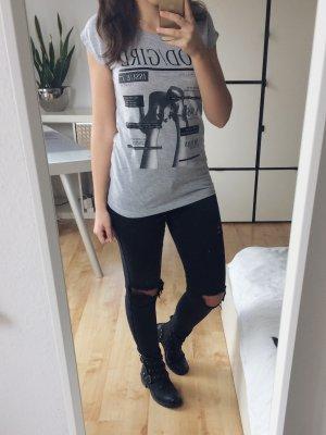 ONLY T-Shirt Shirt grau meliert Print schwarz Gr. S