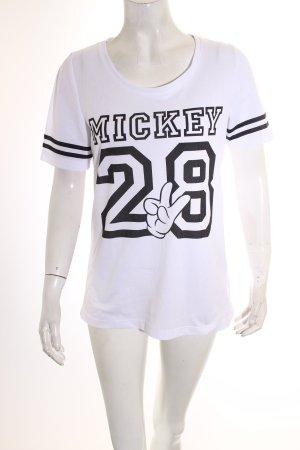 Only T-Shirt weiß-schwarz Schriftzug gedruckt Casual-Look