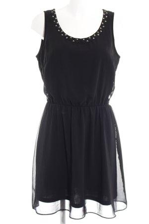 Only Vestido tipo overol negro-color plata elegante