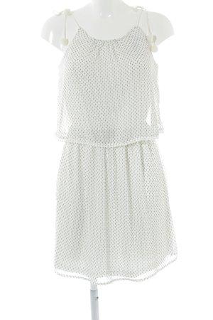 Only Trägerkleid weiß-schwarz Punktemuster Bommelelement