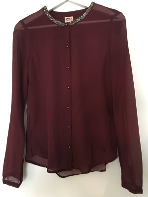 Only transparente Bluse in bordeaux weinrot Gr. 36 mit Pailletten