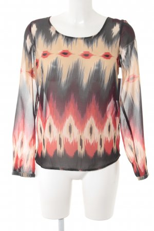 Only Transparante blouse antraciet-rood kleurverloop casual uitstraling