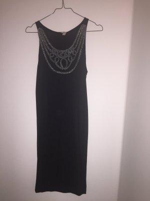 ONLY TRIZIA Kleid schwarz mit silbernen Stick-Applikationen