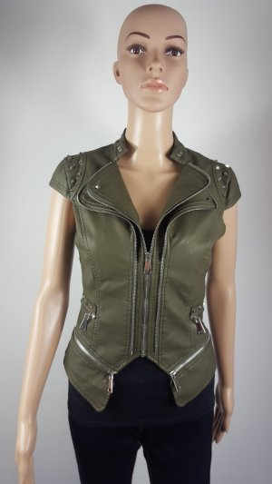 Leather Vest dark green-silver-colored imitation leather