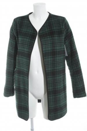 Only Between-Seasons-Coat black-forest green check pattern Brit look