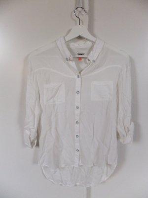 Only weiße Bluse mit Passe und Taschen