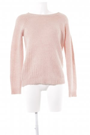Only Wollpullover rosé Lochstrickmuster Casual-Look