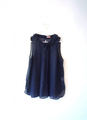 ONLY Zarte ärmellose Bluse, nachtblau, Perlen bestickt, semitransparent