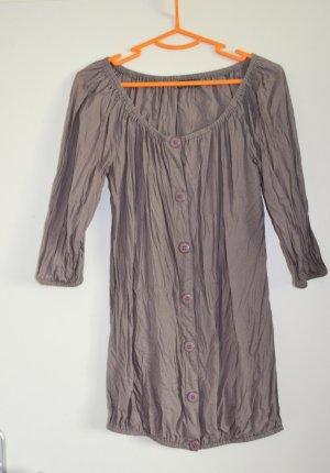 ONY Crinkle Long Bluse in Noisette Braun, Baumwolle Gr. S