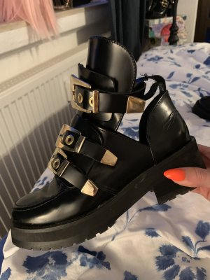 Onygo Cut Out Booties black-gold-colored