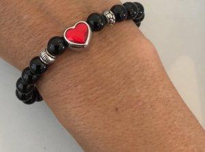 Onyx Armband mit roten Swarovski Element Herz neu