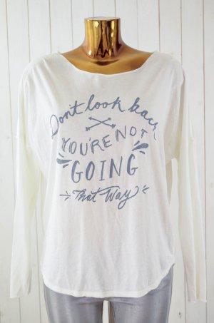 OOTD Damen Shirt Langarm U-Ausschnitt Baumwolle Polyester Weiß Grau Print S/M