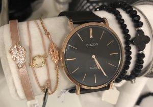 Oozo Uhr mit Feder Armkette in rosegold schwarz Metallarmbanduhr Neu