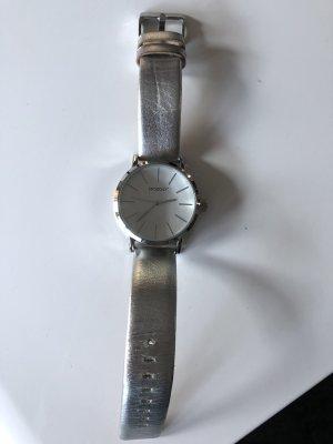 Oozoo Reloj con pulsera de cuero color plata