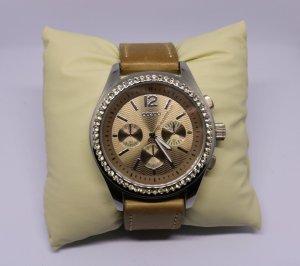 Oozoo Orologio con cinturino di pelle marrone-grigio-argento Pelle