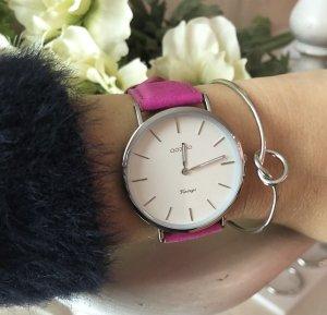 Oozoo Armbanduhr echt Leder pink silber Uhr