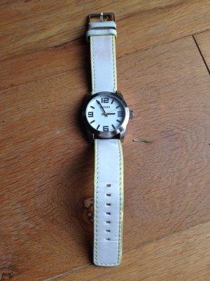 Oozoo Armbanduhr Lederarmband weiß/gelb
