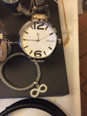 Oozoo Damen Armband Uhr Leder beige braum  mit Silber