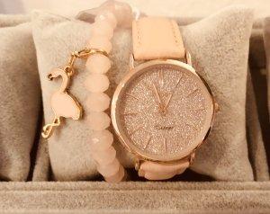 Oozoo Leder Armband rosegold rosa Glitzer Vintage flach  Uhr