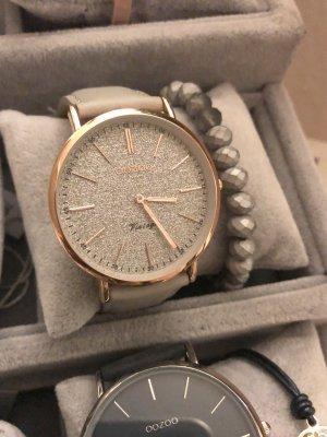 Oozoo Lederarmband rosegold Uhr beige