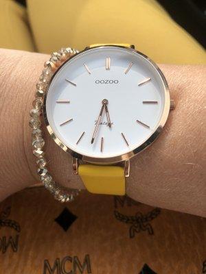 Oozoo Lederarmband Uhr senfgelb rosegold