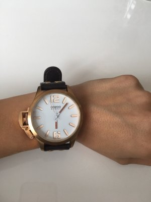 Oozoo Watch With Leather Strap dark brown-rose-gold-coloured