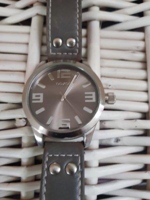 Oozoo Watch With Leather Strap green grey-dark green