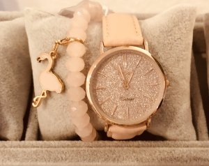 Oozoo Uhr echt Leder rosa rose Armbanduhr